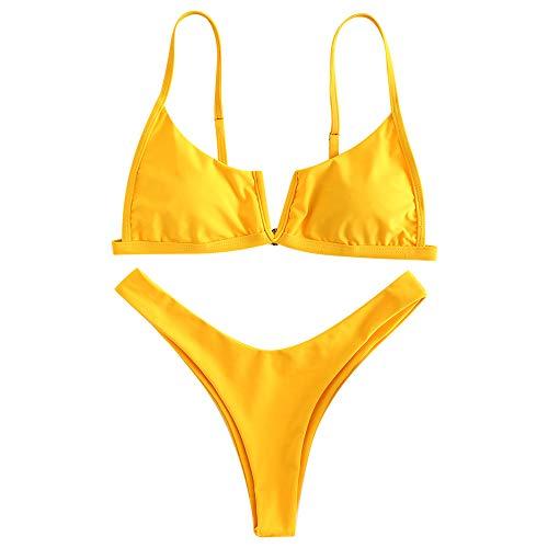 ZAFUL Bikini Donna Imbottito Sexy Costume da Bagno Due Pezzi Taglio Alto Pushup con Perizoma Bikini Donna Mare (S, Giallo)