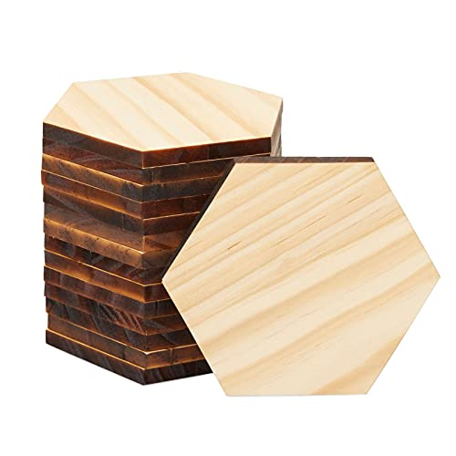 UnfinishedWooden HexagonCutoutsfor Crafts,Wood Burning, Engraving(4 x 4 in, 15 Pack)