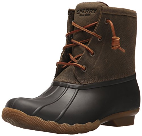 Sperry Womens Saltwater Boots, Brown/Olive, 8.5