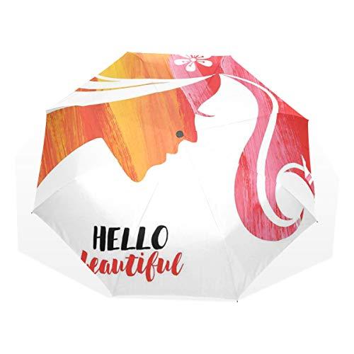 LASINSU Regenschirm,Acryl Silhouette des Mädchens mit Blume und wirbelten Streifen Pinselstrichen,Faltbar Kompakt Sonnenschirm UV-Schutz Winddicht Regenschirm