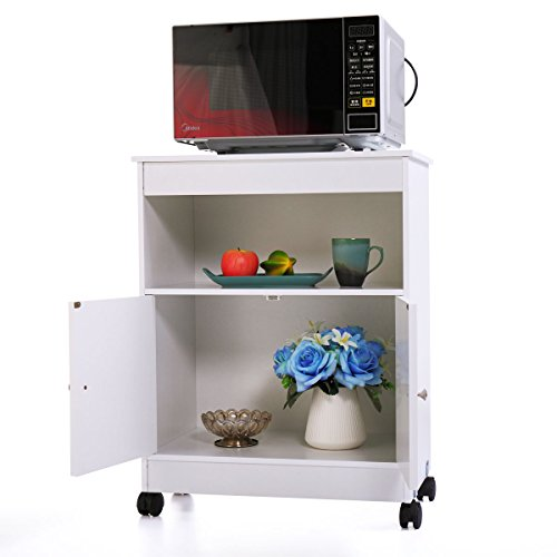 N+A GMHAHA Microwave Cart Kitchen Islands & Carts Oven Stand Freestanding Storage Cabinet with Two Doors and Shelf