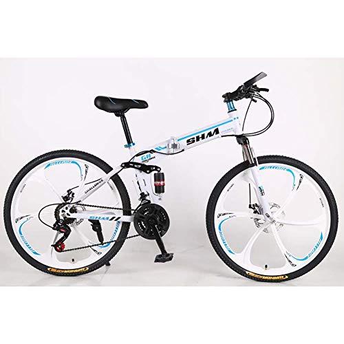 F-JWZS 26 Zoll Unisex Mountainbike, 21 Geschwindigkeit Doppelt Gefedertes Faltrad, mit 6-speichen-rädern und Scheibenbremse, für Schüler, Kinder, Erwachsene Pendlerstadt,Blue
