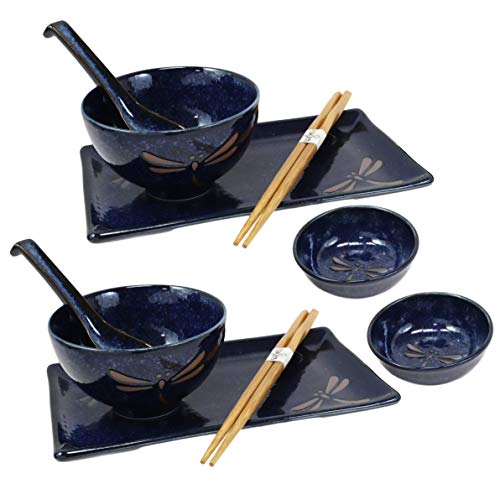 Ebros Gift Japanese Mino Ware Tombo Dragonfly Blue Porcelain Sushi Dinnerware 10pc Set For 2 People Pairs of Sushi Plates Soup And Sauce Bowls Bamboo Chopsticks Asian Soup Spoons Housewarming Gift