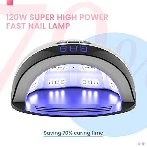Delanie Lámpara LED Uñas Secador de Uñas UV de Gel Semipermanentes UV 120W con 3 Modos de Tiempo y Pantalla LCD para Manicura y Pedicura en Salón o en Casa Blanco