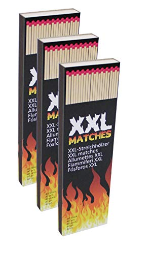 Pullach hof lucifers XXL lucifers set van 3 lucifers voor barbecue open haard kaarsen oven 3 verpakkingen van 40 stuks in totaal 120 stuks