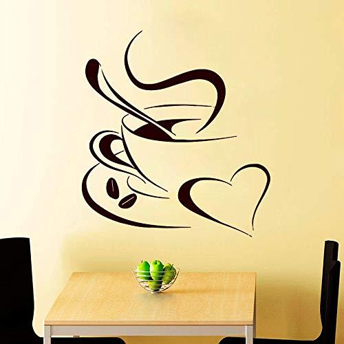 Calcomanía de pared de café taza de café fragante frijol corazón calcomanía café vinilo adhesivo cocina decoración del hogar té de la tarde arte mural