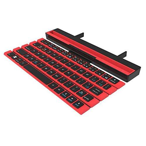 LaLa POP Teclado Inteligente Bluetooth inalámbrico para teléfonos móviles Android Todo el Teclado Plegable portátil Plana (Color : Red)