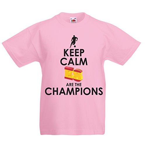 lepni.me Camiseta Niños/Niñas Españoles Son los campeones, Campeonato de Rusia 2018, Copa del Mundo - Equipo del fútbol de Camisa del admirador de España (12-13 Years Rosado Multicolor)