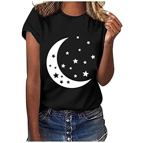 Camisa Casual de Manga Corta con Estampado de Luna/Estrellas/Mariposas/Pluma para Mujer Camiseta Suelta con Cuello En O Blusa Tops