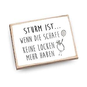 Handmade Magnet aus Buchenholz mit Spruch | Sturm ist wenn die Schafe keine Locken mehr haben