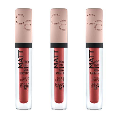 Catrice Matt Pro Ink Non-Transfer Liquid Lipstick, flüssiger Lippenstift, maskenfest, wischfest, hält bis zu 12 Stunden, Nr. 030 This Is Attitude, rot, matt, intensiv, vegan, 3er Pack (3 x 5ml)