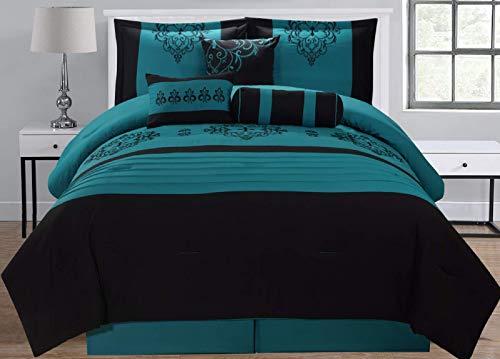 Empire Home 8 Piece Black & Teal Flocking Oversized Comforter Set (King Size)
