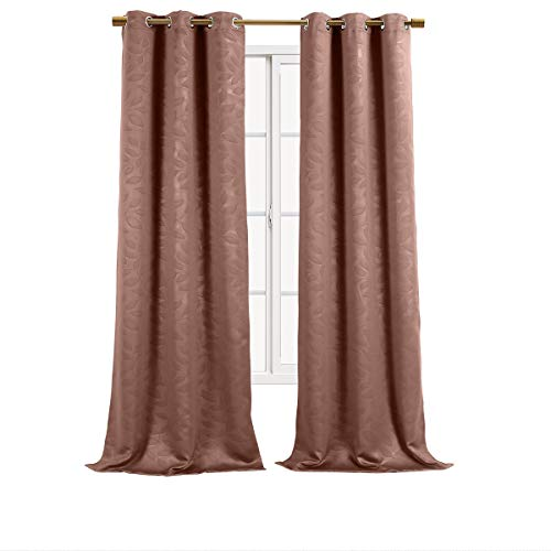 "Set of 2 Panels 74""Wx84""L -Royal Tradition - VIRGINIA - Taupe -Blackout Weave Embossed Grommet Window Curtain Panels. Blocks 90% of light and Reduce outside noise, 37-Inch by 84-Inch each Panel. Package contains set of 2 panels 84 inch long."