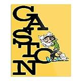 Gaston Lagaffe with Pillow and Text Yellow - El póster decorativo para interior más impresionante y elegante disponible actualmente