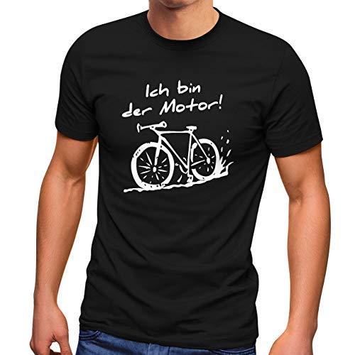MoonWorks® Herren T-Shirt Ich Bin der Motor! Fahrrad MTB Mountainbike Radfahren Fun-Shirt schwarz L