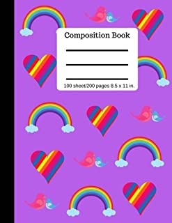 Composition Book Rainbow Hearts College Ruled Lined Pages: Softcover Writing Notebook 100 sheets/200 pages, 8.5 x 11 in