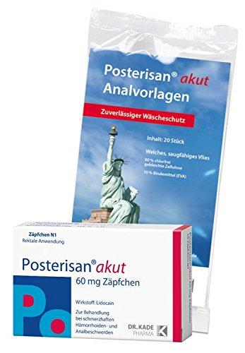 Posterisan akut 60 mg Zäpfchen + GRATIS Posterisan Analvorlagen, 5 St (Nur solange der Vorrat reicht!),20St
