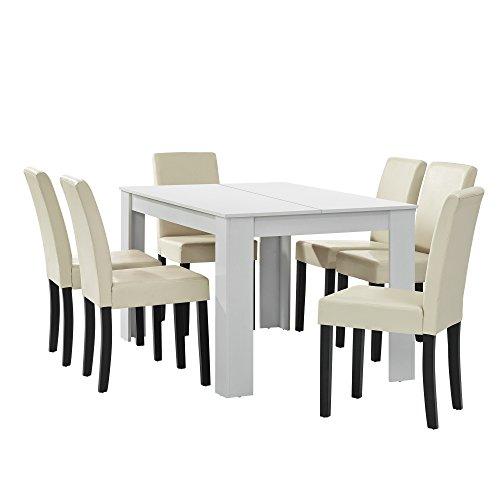 [en.casa] Esstisch weiß matt mit 6 Stühlen Creme Kunstleder gepolstert 140x90 Essgruppe Esszimmer