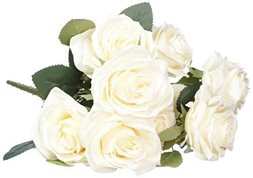 Soledi 10testa francese rose composizione di fiori di seta artificiale bouquet da sposa da salotto, home Garden Decor Creamy