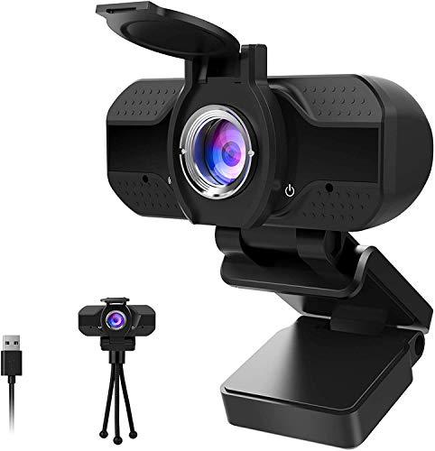 Webcam 1080P Full HD con Micrófono Y Cubierta de privacidad,1080P webcame USB Web Camera con trípode, para Portátil...