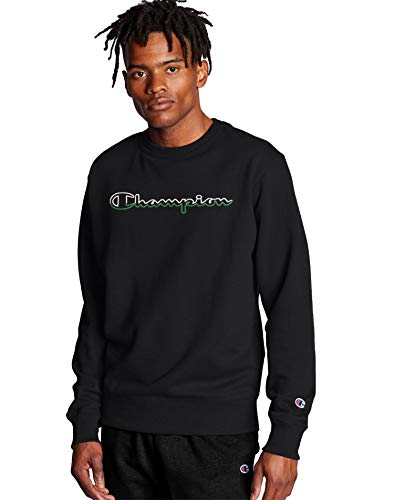 Champion Men's Powerblend Applique Crew, Black, Medium