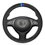 DkeBEI Cubierta del Volante del Coche de Cuero de Gamuza Negra Cosida a Mano, para BMW M Sport E46 330i 330Ci E39 540i 525i 530i M3 E46 M5 E39