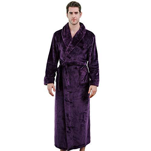 BELUPAI Herren Bademantel aus weichem Samt mit Taschen X-Large violett