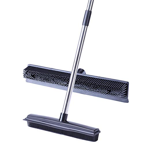 """YONILL Rubber Broom Pet Hair Remover - 50"""" Soft Bristles Push Broom with Long Handle, Sweeper Brush with Squeegee Edge for Hardwood Floors, Carpet Rake for Dog Cat Hair Removal (Black)"""