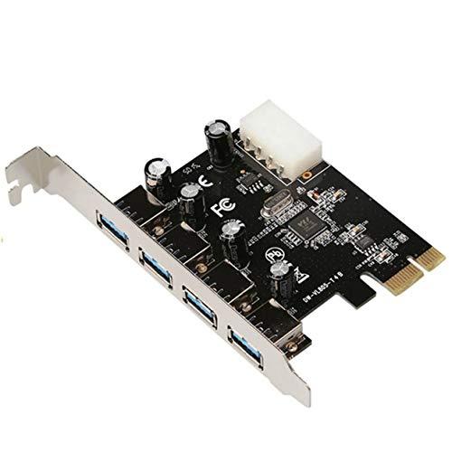 DDyna Tarjeta adaptadora, chipset Vl805 Pcie X1 Tarjeta Vertical de 4 Puertos Usb3.0 a 4 Puertos Usb3.0 Placa de Fuente de alimentación de 4 Pines Placa de expansión Pci-E (Negro)