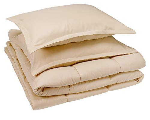 AmazonBasics Comforter Set, Full / Queen, Beige, Microfiber, Ultra-Soft