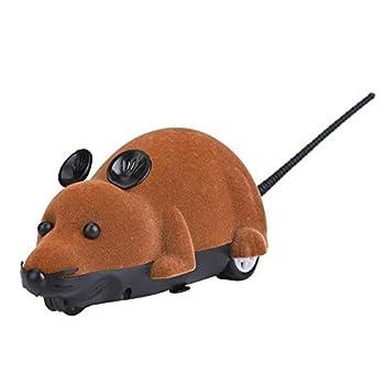 Souris Electronique Jouet Furry Mignon Pet Cats Souris Catcher Animaux Jouets Drôle Rat Nouveauté Cadeau avec Télécommande(Marron)