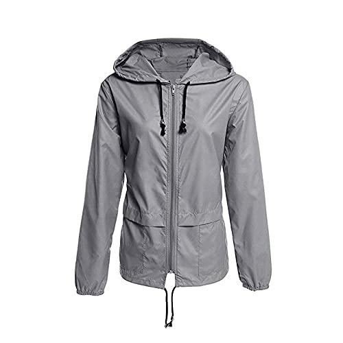 BIBOKAOKE Veste de sport pour femme - Décontractée - Couleur unie - Fermeture éclair - Avec capuche - Imperméable - Coupe-vent - Pour l'automne et l'hiver M Gris 38.