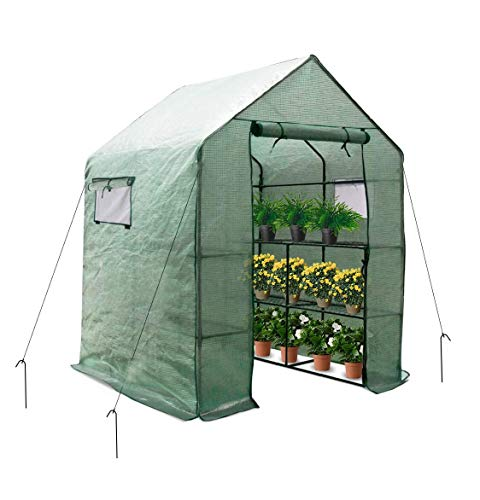 Large Portable Walk-in Plant Greenhouse with PE Cover, 2 Tiers 8...