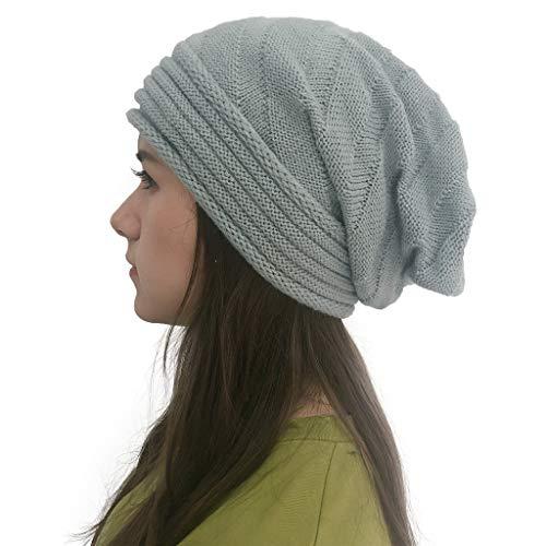 Javntouy Slouch Beanie Hut Frauen Splice Hüte Holey Strickmütze Gr. Einheitsgröße, grau