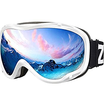 ZIONOR Lagopus Ski Snowboard Goggles UV Protection Anti Fog Snow Goggles for Men Women Adult Youth VLT 8.6% White Frame Silver Lens