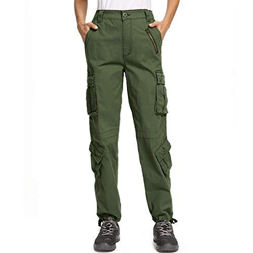 pudu Damen Cargohose Militärhose Outdoor Kletterhose Freizeithose Unifarben Arbeitshose Gerade Sporthose Jogginghose Vintage Mehrere Tasche Hosen(2083,Army Green,28)
