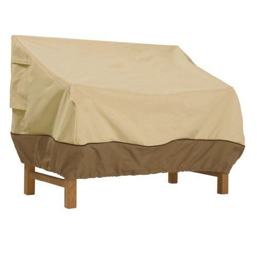 Classic Accessories,70992, Veranda Water-Resistant 50 Inch Patio Bench Cover,Pebble,Small