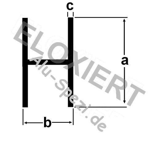 Alu H Profil Innenmaß 8mm (4,25EUR/m) Klemmprofil 2 Meter lang