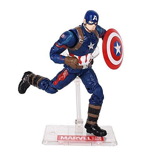 JTWMY Modello Bambola Marvel Avengers 18.5CM Iron Man Capitan America Modello di Bambola Mano può Essere spostato con staffe per Giocare Boutique (Colore : B)