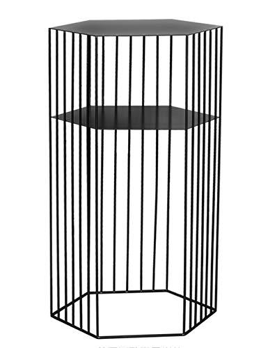 Geometrische bijzettafel/smeedijzeren koffietafel/dubbele hoge tafel, eenvoudige moderne bank creatieve kleine appartement woonkamer, zwart (38×38×65cm)