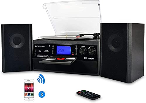 DIGITNOW! Bluetooth Viny Record Player, Turntable for CD, Cassette, AM FM Radio and Aux in, USB port and SD Encoding, Remote Control, with Standalone Stereo Speakers