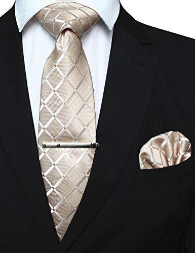 JEMYGINS - Corbata para hombre, rejilla de color liso con pañuelo y alfiler de corbata, incluye caja dorado Medium