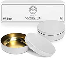 Hearts & Crafts Candle Tin Cans with Lids - 16-oz. White Tin Cans, 12-Pack - for Candles, Arts & Crafts, Storage, Gifts,...