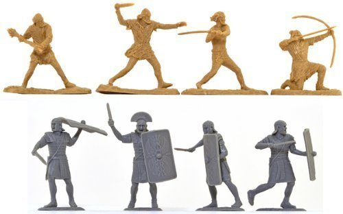 Ancient Roman Soldiers and Barbarians Set 16 Unpainted Plastic Figures Toy Soldiers of San Diego