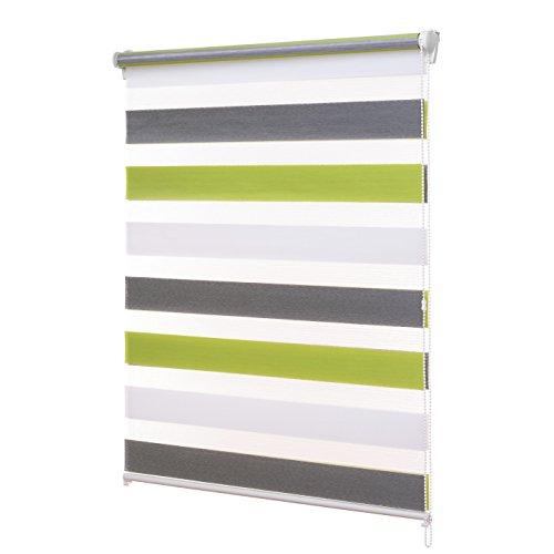 Ventanara Doppelrollo ohne Bohren Klemmfix 3-farbig Grün Grau Anthrazit Fenster Duo Rollo verspannt inklusive Klemmträger 39 x 160 cm