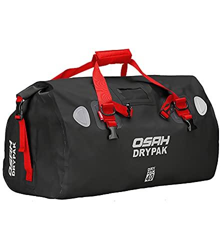 IRON JIA'S Bolsa de Alforjas para Moto, 500D PVC Impermeable | Multifuncional | Reflectante | Gran Capacidad Bolsa de Sillín para Motociclismo, Ciclismo, Rafting, Camping, Viajes, Pesca - Rojo | 40L