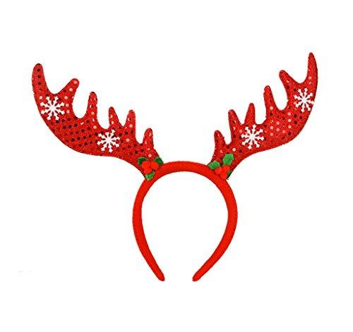 Bigood Décoration Noël Coiffure Corne de Cerf Flocon de Neige Serre-tête Rouge
