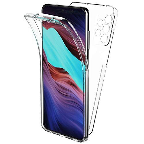 Oududianzi Cover per Samsung Galaxy A72 5G/4G(6,7 Pollici), 360 Gradi Protezione Progettata, Trasparente Ultra Sottile in Silicone TPU Anteriore e PC Indietro Custodia Bellezza Originale -Trasparente