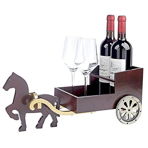 HFZY Retro madera carro vino estante decoración gabinete artesanía regalo para el vino entusiasta cocina bodega almacenamiento