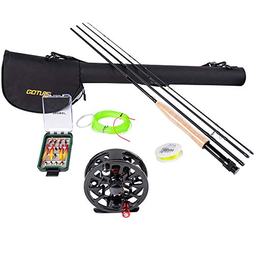 Goture Fly Fishing Rod and Reel Combo//CNC Machined Aluminum Alloy Reel //9FT, 4-Piece 7/8 Weight Rod Lightweight Portable Graphite, with Lines, 16pcs Flies,Protective Travel Case Starter Set Kit